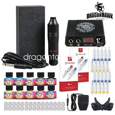 Dragonhawk Tattoo Kit Motor Makeup Pen Machine Ink Power Supply Cartridge Needle