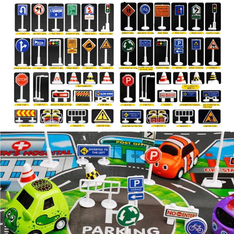 28 Pcs Car Toy Accessories Traffic Road Signs Kids Children