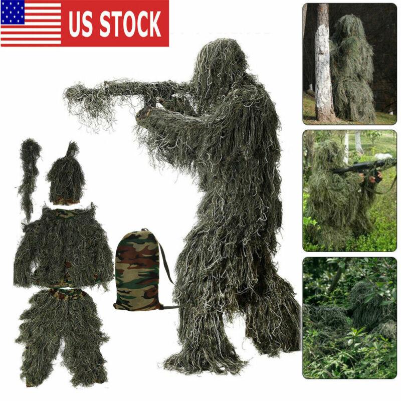 3D Ghillie Suit Set Sniper Training Leaf Jungle Forest Wood Hunting Camouflage