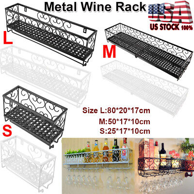 - Wall Mount Metal Wine Rack Bottle Champagne Glass Holder Storage Bar Accessory