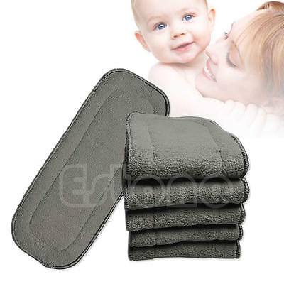 Washable Reusable Bamboo Fiber Charcoal Cloth Nappies Diaper Insert 5 Layers 1pc