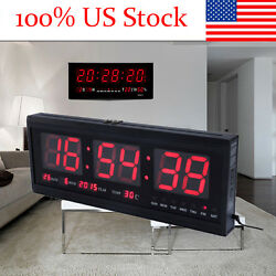 Red Digital Large Jumbo LED Wall Desk Alarm Clock Calendar Temperature Practical