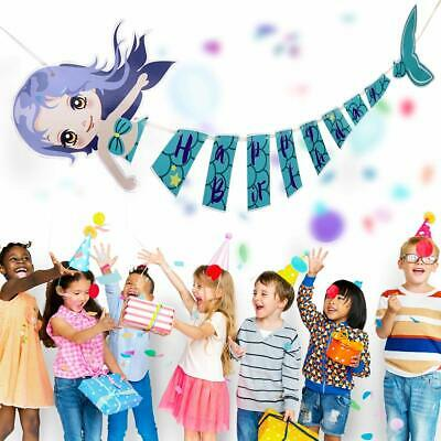 Purple Birthday Banner (Happy Birthday Banner, Mermaid Blue and Purple Under The Sea Banner for)