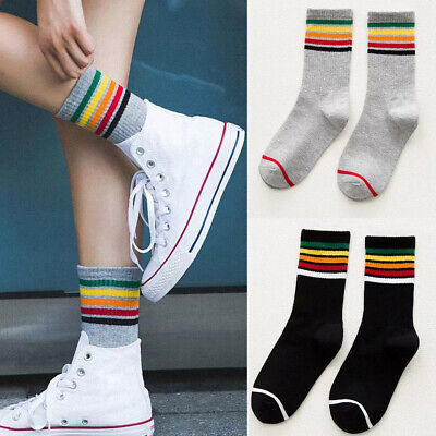 Fashion Unisex Cotton Rainbow Striped Socks Sport High Sock Casual Hosiery Well Clothing, Shoes & Accessories