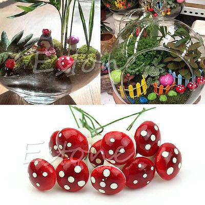 Red Mini 20Pcs Mushroom Garden Ornament Miniature Plant Pots Fairy DIY Dollhouse