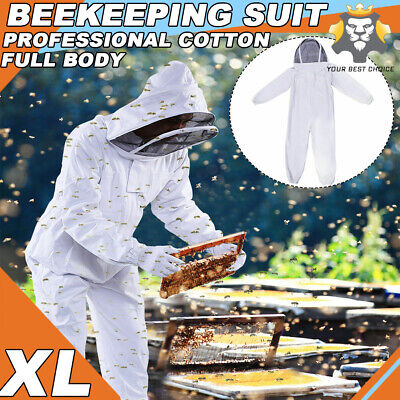 Professional Cotton Full Body Beekeeping Bee Keeping Suit W Veil Hood Xl A