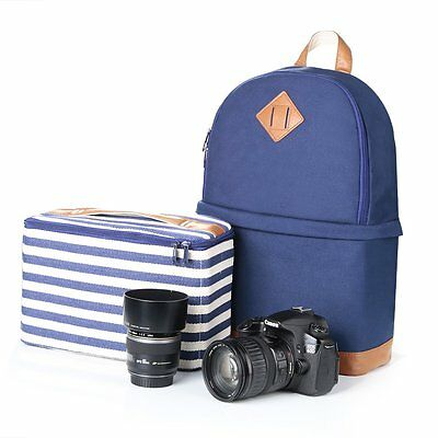 Women's Waterproof Canvas DSLR Camera Bag Padding Case Travel Backpack For Canon