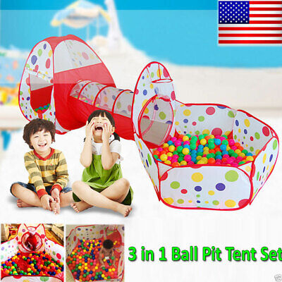 Portable Kid Indoor Outdoor Play Tent Crawl Tunnel Set 3 in