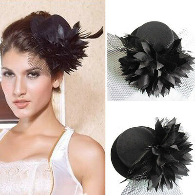 Women's Lady Flower Hair Clip Mini Top Hat Fascinator Wedding Party Decor Black