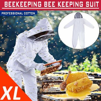 Beekeeper Bee Keeping Suit Jacket Safty Veil Hat Body Equipment Hood Xl White