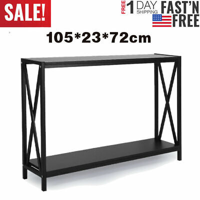 Console Table Black Modern Accent Shelf Stand Sofa Entryway Hall Furniture NEW
