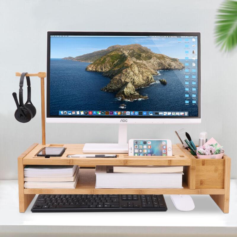 Bamboo Wooden Desktop Computer Monitor Riser PC Laptop Stand Keyboard Organizer