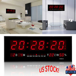 Large Digital Jumbo LED Wall Desk Alarm Clock Display Calendar Temperature US