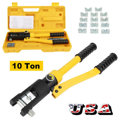 10 Ton Hydraulic Crimper Crimping Toolw 14 Dies Wire Battery Cable Lug Terminal