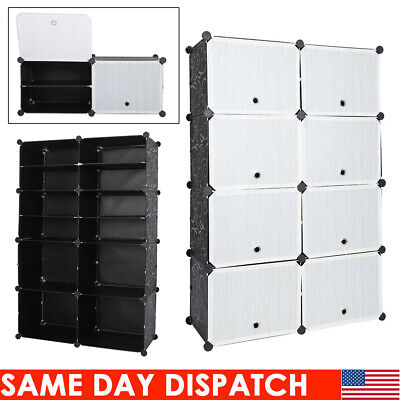 16-Cube 8 Layer DIY Plastic Shoe Rack Cabinet Storage Space Organizer With (Plastic Cabinet Doors)