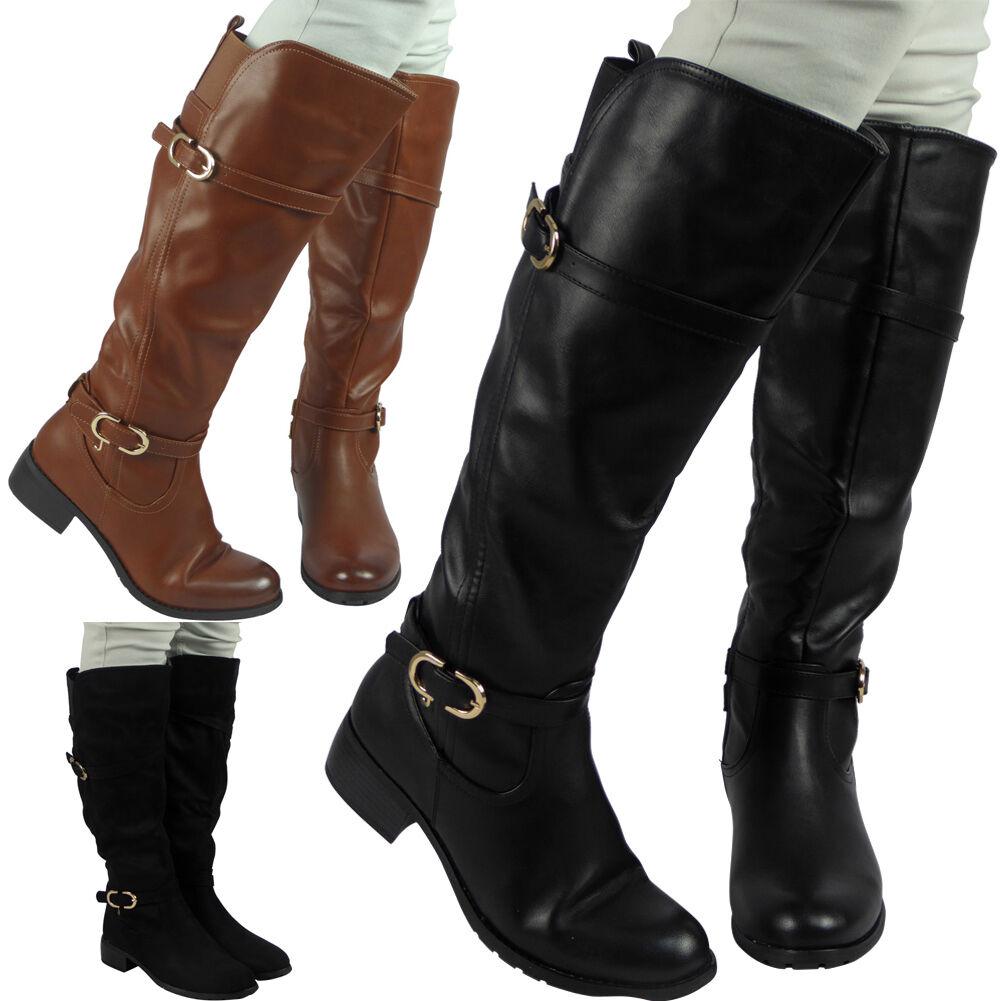 Women Flat Low Heel Knee High Ladies Leg Buckle Boots Motorcycle Riding Shoe US