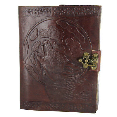 Embossed Howl at the Full Moon Handmade Locking Leather Wolf Journal Grimoire