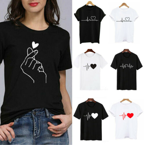как выглядит Fashion Women Ladies Short Sleeve T Shirt Tops Blouse Heart Printed Casual Tees фото