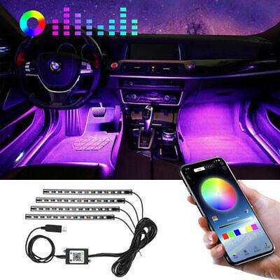 RGB LED Car Interior Foot Strip Bluetooth Phone APP USB Control Atmosphere Light
