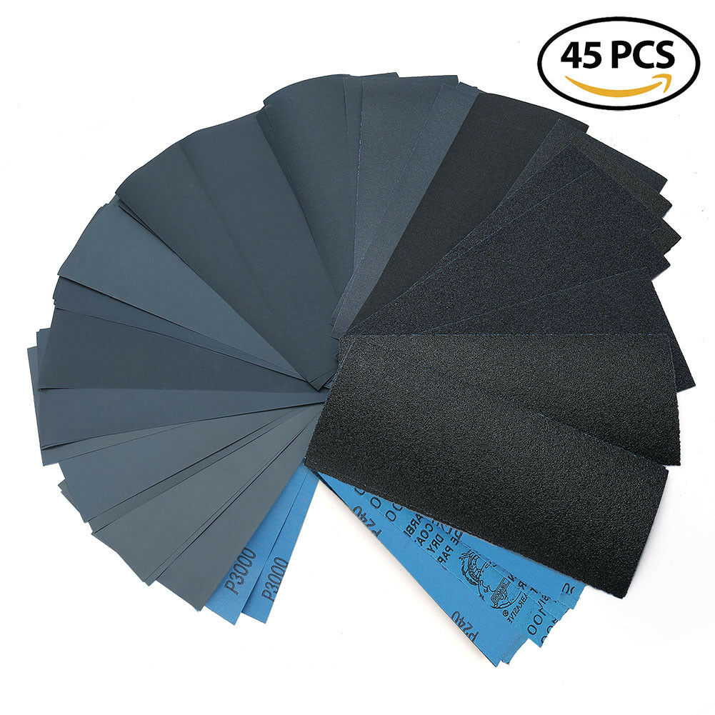 Wet Dry Sandpaper 80 -3000 Grit Assortment 9x3.6'' Abrasive Paper Sheet Sanding
