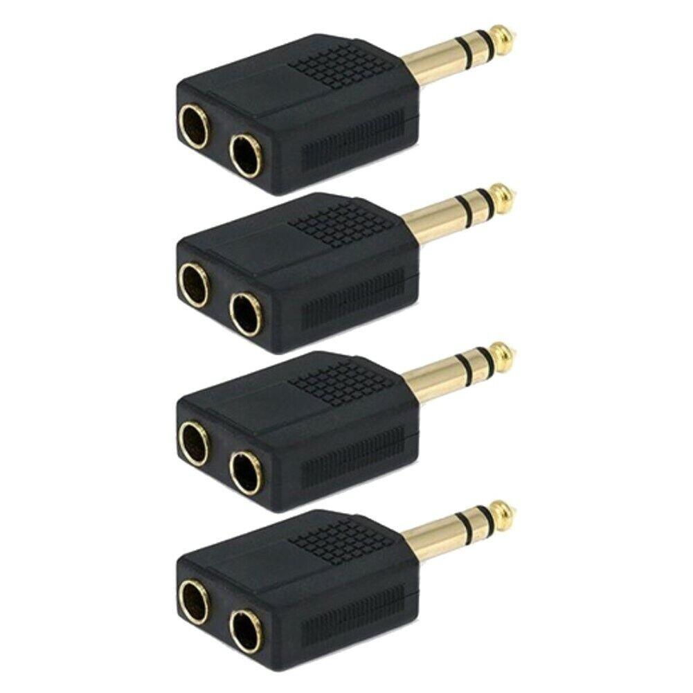 "10x Audio Splitter 1 Mono 6.35mm 1//4/"" Male Plug to 2 RCA Female Jack Y Adapter"