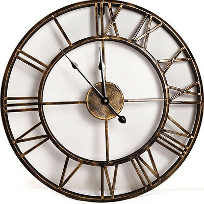 20-inch Metal Round WALL CLOCK Rustic Bronze Roman Numeral Home Décor Clocks