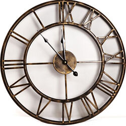 20-inch Metal Round WALL CLOCK Rustic Bronze Roman Numeral Home Décor Clocks
