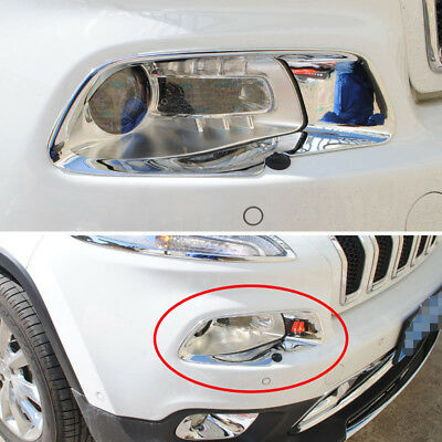 fits 2014-2018 Jeep Cherokee Chrome Headlight Cover Front lamp Frame Decor Trim - Jeep Cherokee Chrome Headlight Trim