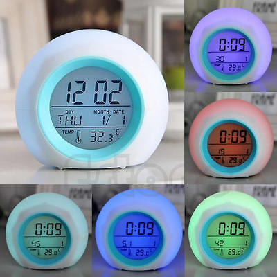 New 7 Color Digital LED Glowing Change Clock Alarm Thermometer With Nature Sound