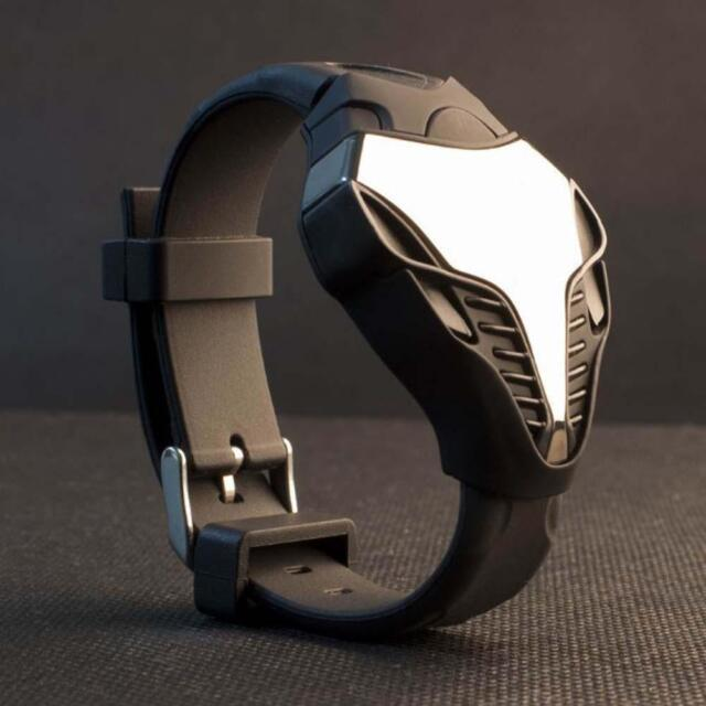 LED Digital Mens Watches Silicone Cobra Iron Triangle Dial Sport Wristwatch #BGG