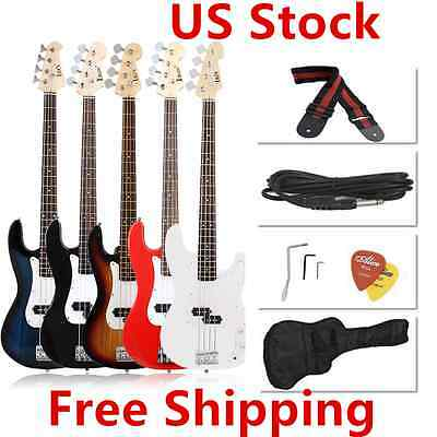 Blue/Red/Black Electric Bass Guitar Includes Strap, Guitar Case, Amp Cord&MORE V