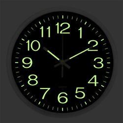 Wall Clock Glow In The Dark Silent Quartz Indoor Outdoor Luminous Decor 12''  US