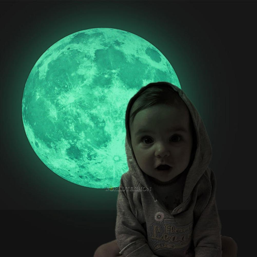 Home Decoration - 3D Moon Star Glow in the Dark Luminous Fluorescent Home Room Wall Decal Sticker