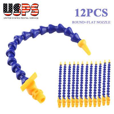 12PC Plastic Flexible Water Oil Coolant Pipe Hose Round Lathe CNC Nozzle +Switch Plastic Flexible Tube