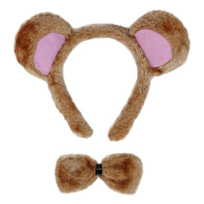 Bear Ears & Bow Tie Costume Set ~ HALLOWEEN BEAR DRESS UP PARTY ACCESSORY KIT - Bear Halloween Costumes
