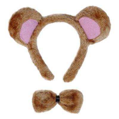 Bear Ears & Bow Tie Costume Set ~ HALLOWEEN BEAR DRESS UP PARTY ACCESSORY KIT - Bear Halloween Costume