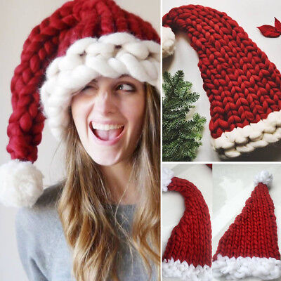 Red Christmas Thickened Hat Santa Claus Cap Family Adult/Child Xmas Woolen Yarn