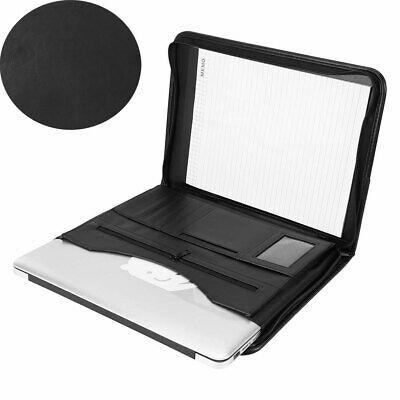 Black A4 Conference Folder Portfolio Faux Leather Zipped Organiser Portfolio NEW