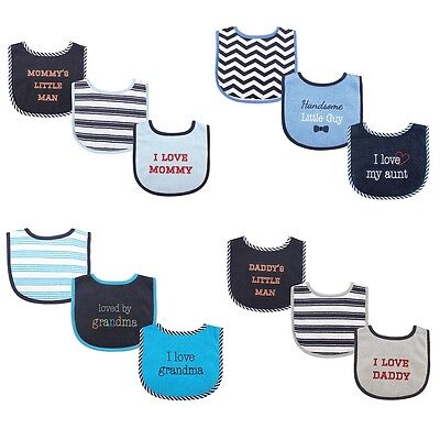 "LUVABLE FRIENDS BABY BOYS 3 PACK  DROOLER BIBS "" I LOVE "" FIBER FILLED"