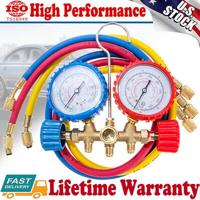 R410A R22 R404 R134A A/C Diagnostic Manifold Gauge Set Refrigerant Charging Hose