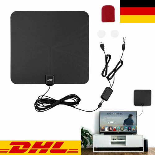 1080p Verstärker DVB-T/T2 Antenne Zimmerantenne 80 Meile Full HD TV Fernseher DE