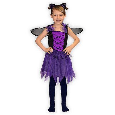 Kostüm Set Fledermaus für Mädchen mit Haarreifen und Flügeln Fasching Karneval