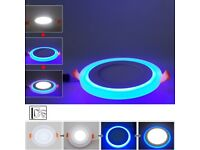 NEW LED Round Recessed Ceiling Panel Light 3w, 6w, 12w, 18w 3 in 1 Coloured Daylight White - Blue