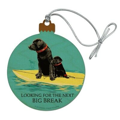 Looking For Next Big Break Surfing Dogs Wood Christmas Tree Ornament ()