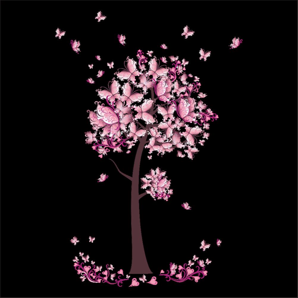 Großartig Wandtattoo Kinderzimmer Mädchen Ideen Von Schmetterlinge Baum Süß Mädchen Pink Rosa Sticker