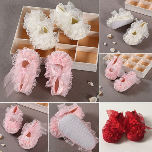 Newborn Baby Girl Pink Soft Cloth Flower Crib Shoes Bow Anti