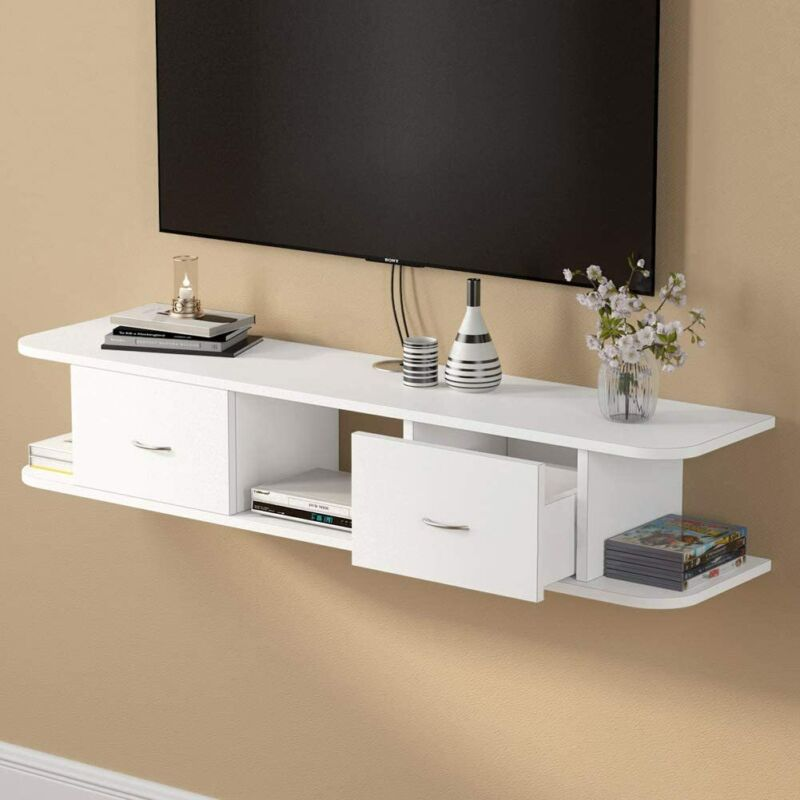 Tribesigns Floating TV Shelf White Wall Mounted Media Stand Console with Drawers