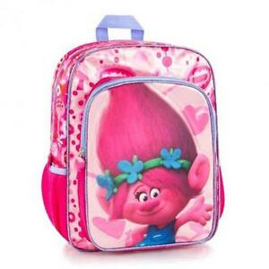 Trolls backpack school bag poppy by heys - dreamworks, for girls, 16 inch with adjustable back straps pink