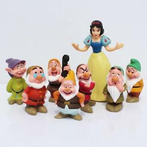 8pcs set Disney Princess Snow White and the Seven Dwarfs Figures Cake Topper Toy
