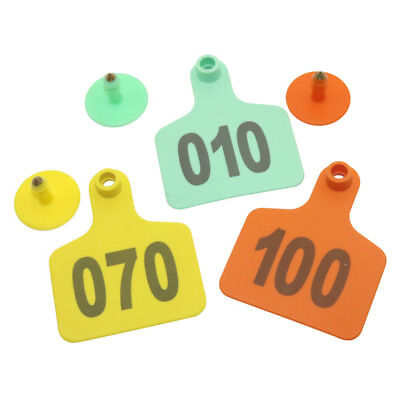 20 X Livestock Cattle Ear Tags Cow Identification Labels No.1-100 Color Orange